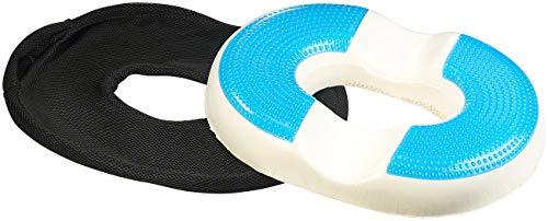 newgen medicals Gel-Sitzkissen Auto: Ergonomisches Ring-Sitzkissen aus Memory-Foam, mit Gel-Beschichtung (Gel-Sitzkissen Stuhl) -
