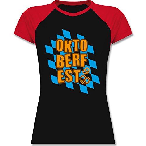 Oktoberfest Damen - Oktoberfest Rauten Brezel - zweifarbiges Baseballshirt / Raglan T-Shirt für Damen Schwarz/Rot