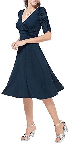 Ghope Femme Robe Court Genou 1/2 Manche Plis Uni Elegant Sexy Casual ol Col V Bleu fonce