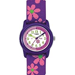 Timex Youth Girl's Quartz Watch with White Dial Time Teacher Display, Purple Fabric and Canvas Strap T784014E