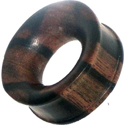 Chic Net legno Tunnel Tiger legno marrone scuro venatura naturale convesso intagliato a mano tribale legno tunnel plug