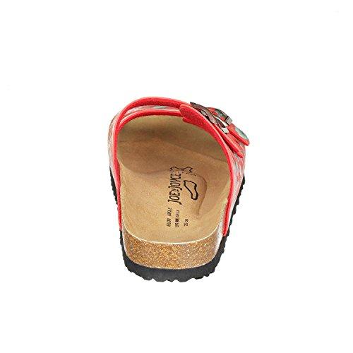 JOE n JOYCE Paris Synsoft Unisex Sandalen Pantoletten mit 3 Riemen Normale Weite Flowered Red