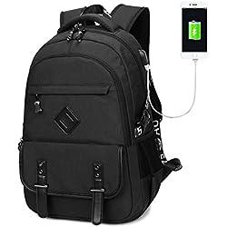 Mochila de ordenador portátil, Mochilas de ordenador Mochila de viaje de senderismo casual con puerto de carga USB se adapta a portátil y tabletas de 15,6 pulgadas (Negro)