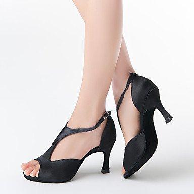 donne in raso superiore ballo scarpe da ballo latino scarpe peep toe Black