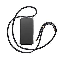KNOK Handykette für iPhone 7 iPhone 8- Silikon Hülle mit Band - Handyhülle für Smartphone zum Umhängen - Transparent Case mit Schnur - Schutzhülle mit Kordel in Schwarz