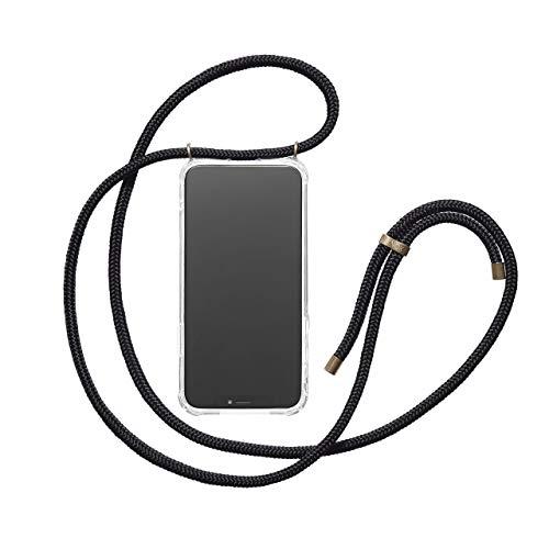 KNOK Handykette Kompatibel mitSamsung Note 8- Silikon Hülle mit Band - Handyhülle für Smartphone zum Umhängen - Transparent Case mit Schnur - Schutzhülle mit Kordel in Schwarz