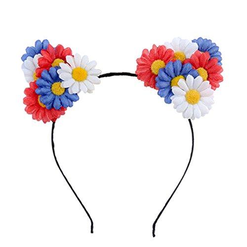 Zoylink Mädchen Haarband Kostüm Party Stirnband Nettes Gänseblümchen Katzen Ohr Haarband