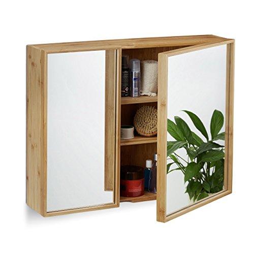 #Relaxdays Bad Spiegelschrank 2-türig, Wandschrank aus Bambus, vormontierter Badschrank HxBxT: 50 x 65 x 14 cm, natur#