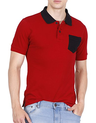 Fanideaz Men's Half Sleeve Cotton Solid Polo Tees for Men Red M