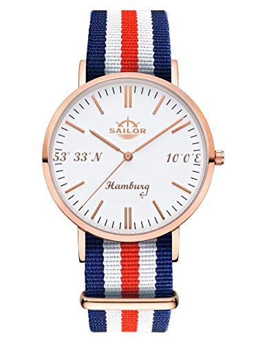 Sailor Damen Herren Uhr Edition Hamburg Analog Quarz mit Nylon Armband Rosegold SL101-2114-40, Farbe Armband:Marine
