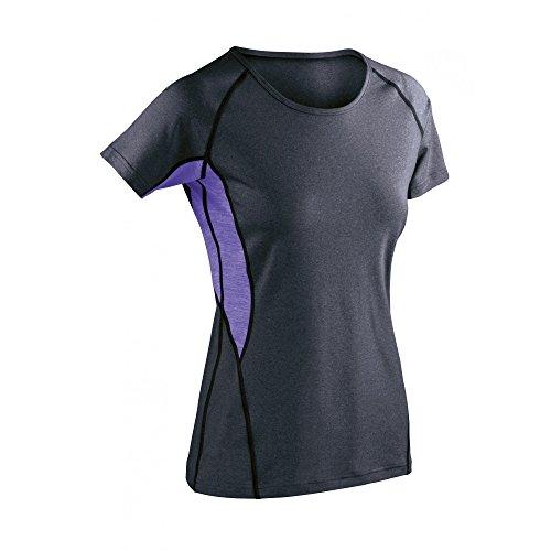 Spiro - T-shirt de fitness à manches courtes - Femme Grey Mist / Marl Orange