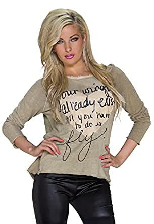 991 Fashion4Young Damen Legere geschnittenes Langarm-Shirt Strick Pulli Gr. 36/38 Oliv (36/38, Oliv)