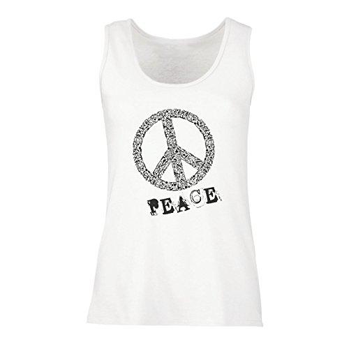 lepni.me Damen Tank-Top Peace Symbol 60er Jahre 70er Jahre Hippie-Festival, Zeichen der Freiheit (Medium Weiß Mehrfarben) (Damen T-shirt Musik Ringer)