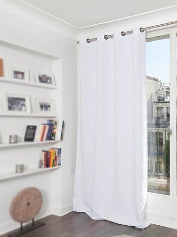 HomeMaison hm6902047Moondream Vorhang Kapselgehörschutz blickdicht/Thermische Baumwolle 145x 260cm, Baumwolle, weiß, 260x145