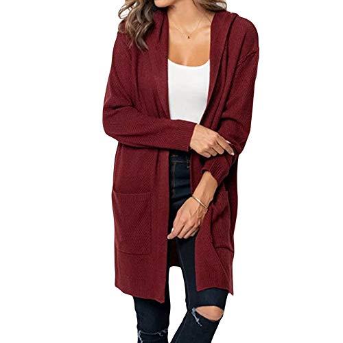 iHENGH Damen Kardigan Top,Ladies Fashion Lange ÄRmel Strickjacke Solid Pocket Cardigan Coat Tops Sweater Gestrickte Kapuzenmantel Outwear Jacke Mantel (EU-40/CN-S,Weinrot)