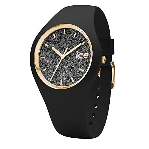 Ice-Watch - Ice Glitter Black - Schwarze Damenuhr mit Silikonarmband - 001356 (Medium) (Frauen Trendige Schuhe)