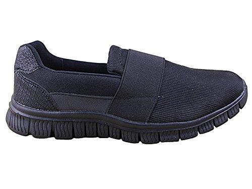 Cushion Walk Ladies Lightweight Memory Foam Slip On Canvas Pumps Plimsoll Casual Comfort Go Shoes Trainers Size 3-8 (UK 7, Scarlett Black)
