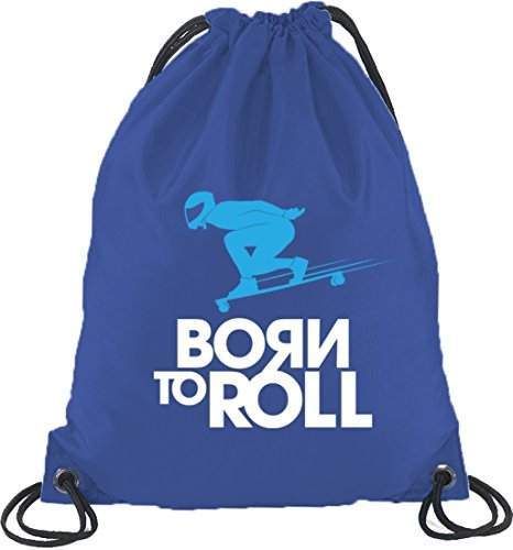 Longboard - Born To Roll, Skateboard Turnbeutel Rucksack Sport Beutel Royal Blau