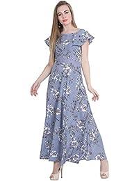 Raghumaya Floral Printed Maxi Dress for Women
