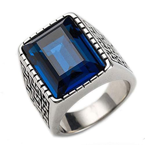 MXH Herrenringe Elegant Kreativ Edle Ringe Vintage Saphirring,Blue,7th