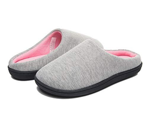 Damen Cotton House Hausschuhe warme Fell gefüttert Slip On Schuhe für Schnee Winter hellgrau Größe 9 - L -