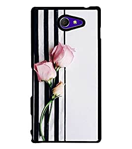 Pink Rose 2D Hard Polycarbonate Designer Back Case Cover for Sony Xperia M2 Dual :: Sony Xperia M2 Dual D2302