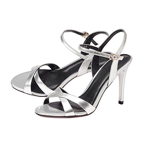 Damen Sandaletten Elegant Stilettos High Heels Tragen Schnalle Lackleder Europöische Stil Modische Schick Pumps Silber