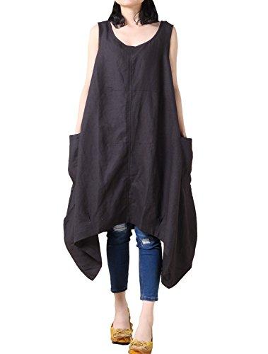 Mallimoda Damen Neue Ärmellos Sommer Kleid Leinenkleid mit Taschen Schwarz L (Tasche Schwarz Tessuto)