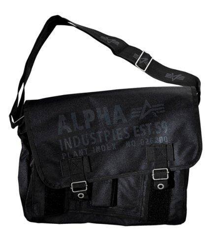 Alpha Industries Tasche Courier Bag 101916 Oxford Cargo black - 37 cm x 30 cm x 15 cm (Alpha Umhängetasche)