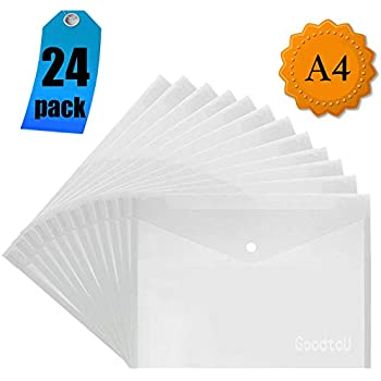 Dokumententaschen A4 Transparent,20 St/ücke Dokumententasche Sammelmappe Dokumentenmappe mit Druckknopf f/ür Schulb/üro-Hausaufgaben