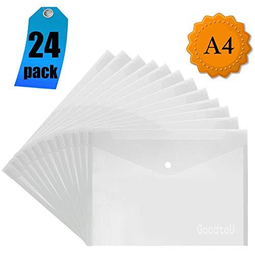 Dokumententaschen A4 Transparent - Dokumententasche Sammelmappe Dokumentenmappe mit druckknopf (24 Stück)