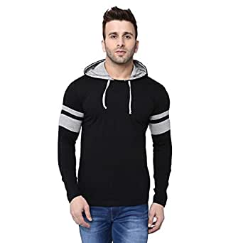 BI FASHION Men's Cotton Striped Round Neck Contrast Hooded T-Shirt with Full Sleeves (Black, Small)