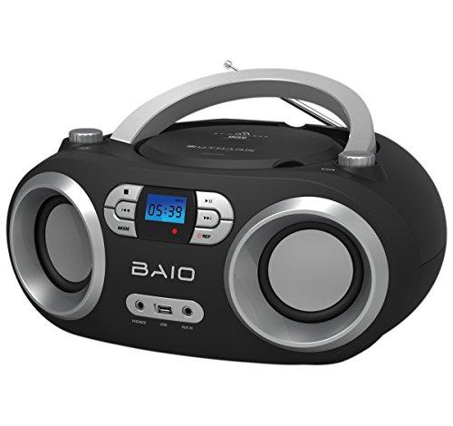 OUTMARK BAIO TRAGBARER CD-RADIO-BLUETOOTH-PLAYER | USB | AUX-IN | MP3 | FERNBEDIENUNG | LCD-DISPLAY BLAUE BELEUCHTUNG | FM-RADIO | KOPFHÖRERANSCHLUSS | 2 x 1,5W RMS | BOOMBOX | (BLACK)