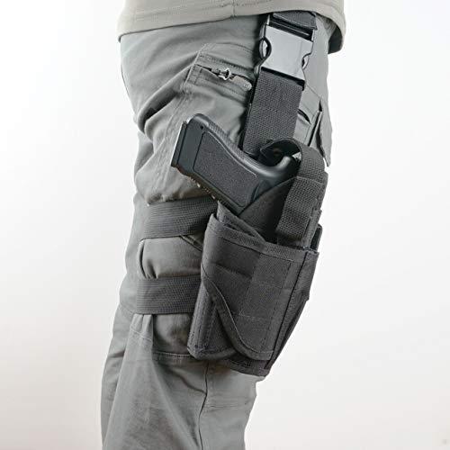 DecoDeco Pistolenholster Tiefziehholster Waffenholster Oberschenkel Taktisch Gürtelbefestigung mit Magazintasche für Rechtsschützen -