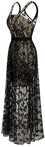 Angel-fashions FemmePerle sangles croisees See Through papillon robe longue Noir