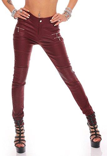 10782 Fashion4Young Damen Röhrenhose Slimline Leder-Look Lederimitat Damenhose Wetlook Hose (weinrot, S/36)
