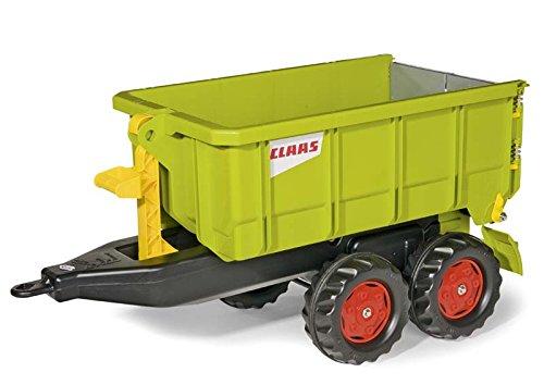 *Rolly Toys 125166 Anhänger rollyContainer Claas | Kippanhänger mit Tandemachse | stabilen Hecktüren mit Hakenverschluss | ab 3 Jahren | Farbe grün | TÜV/GS geprüft*