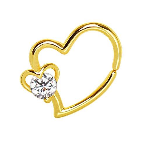 1 x klarer Kristall doppelt offenes Herz vergoldet Clicker 1,2 mm Chirurgenstahl Tragus/Knorpel Oberohr Ohrring Conch Barbell Stud Bar Piercing Schmuck