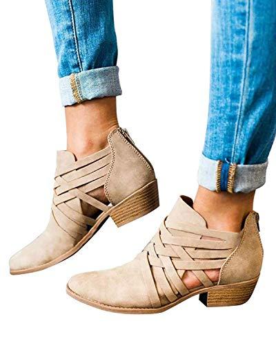 Minetom Mujer Verano Otoño Botas Cortas Elegante Cómodas Antideslizante Tacón Ancho Zapatos Chic Ahuecar Cremallera Bootie Botines Chelsea Ankle Boots Caqui EU 36
