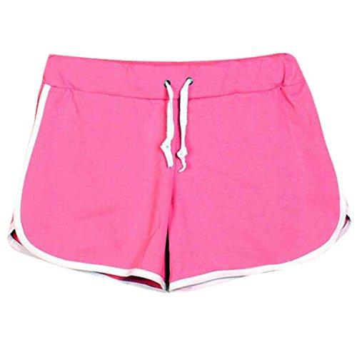 QIYUN.Z Les Femmes a Taille Coulissee Coton Shorts De Plage Sports De Plein Air Occasionnels Pantalons Courts Rose
