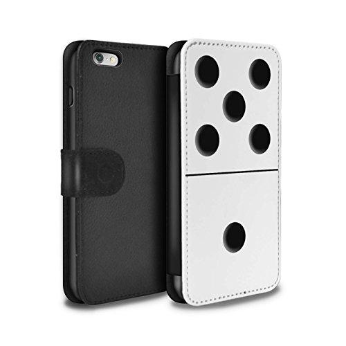 Stuff4 Coque/Etui/Housse Cuir PU Case/Cover pour Apple iPhone 6+/Plus 5.5 / Tuile Noir 1/1 Design / Domino/Dominos Collection Tuile Blanc 5/1