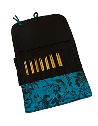 HiyaHiya 5-Inch Small Bamboo Standard Interchangeable Needle Set in Assorted Case Color and Brocade