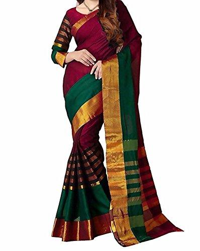 harikrishnavilla Women's Bhagalpuri Silk Saree With Blouse Piece (Tadka Saree 06_Red)