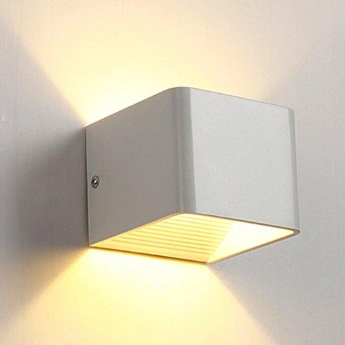 Lamker 5W LED Wandleuchte Innen Modern Up und Down Design Wandlampe Aluminium Flurlampe Treppenleuchten für Flur Korridor Wohnzimmer Schlafzimmer Quadrat Warmeiß