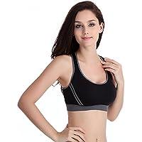 Susenstone Le nuove donne Reggiseno imbottito Top Athletic Vest Palestra Fitness Sport Yoga Stretch (nero, S)