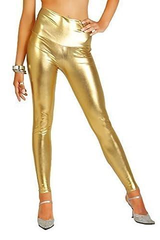 Futuro Fashion Sexy Glänzend Latex Lack-optik Lange Leggings Hohe Taille Kunstleder - Gold, 38