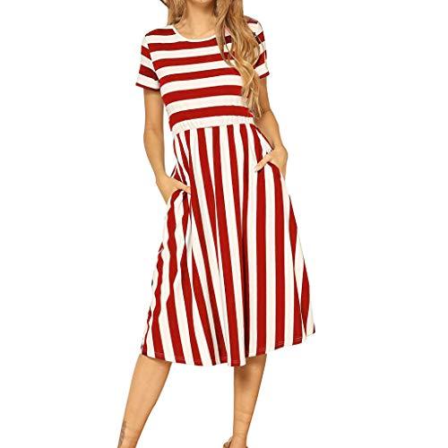 CUTUDE Damen Kleider Sommerkleider Kurzarm Gestreiften Print Taschen Freizeit Swing Midi-Kleid (Rot, Small)