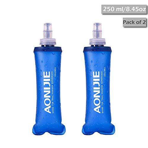 TRIWONDER Botellas de Agua correctas de TPU Soft BPA-Free a Prueba de Fugas para el Paquete de hidratación - Ideal para Correr Ciclismo de Senderismo (250 ml / 8.45 oz - Paquete de 2)
