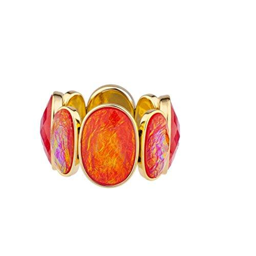 LUX Zubehör schillernden geschoben Shell Wie Stein Stretch Armband Rosa Violett Solid Stretch Shell