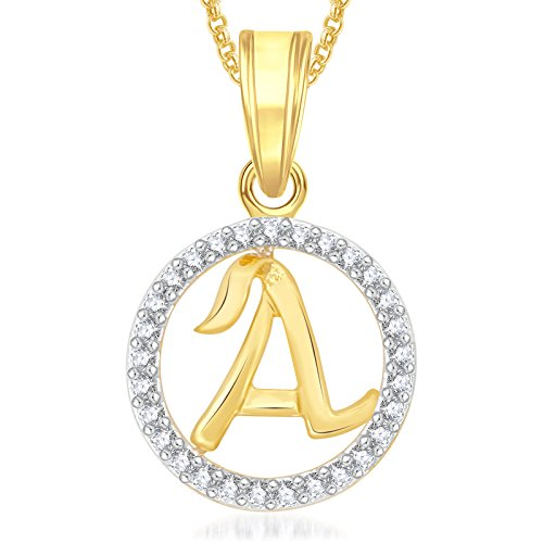Valentine Gifts Meenaz Gold Plated 'A' Letter Pendants Alphabet Pendant With Chain For Men,Wo...